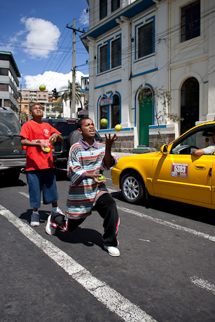 Javier and David juggle, Quito, Ecuador, 2006.