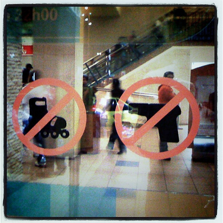 Not allowed in the mall, Guayaquil, Ecuador. 2011.
