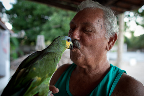 Man and pet parrot. Patacas, Aquiraz - CE, Brazil. 2008.