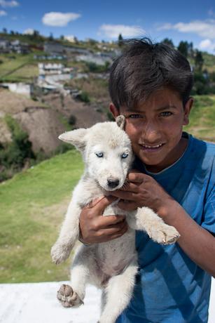 A boy and his dog. Quito, Ecuador. 2006.