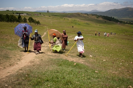 Ladies posing on the trail. Swaziland. 2005.