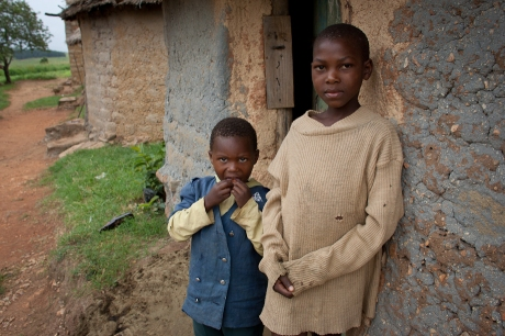 Children at their homestead. Swaziland. 2005.